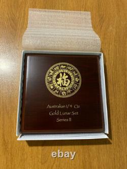 12 x 1/4 oz proof gold lunar II 2 set series 2008 2019 coa wooden box