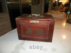 1920's Chinese Bovine Bone & Bamboo Dovetailed Mahjong Set with wooden box