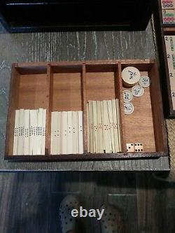 1920's French Ivory Mah Jongg Set Complete with All Tiles in Box 5 Wooden Trays