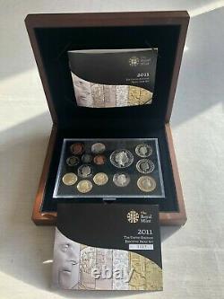 2011 Uk Executive Proof Coin Set 14 Coins Wooden Box Coa 0693
