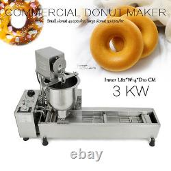 220V Commercial Automatic Donut Maker Making Machine Wide Oil Tank 3 Sets Mold