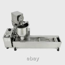 220V Commercial Automatic Donut Maker Making Machine Wide Oil Tank with3 Sets Mold