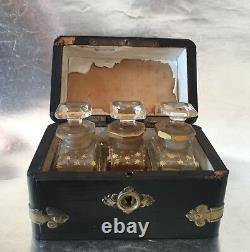 3 Antique Vintage Glass Perfume Bottles Gold Paint Set Original Wooden Box