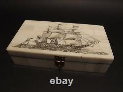 5 Antique Style Folk Art Sail Ship Scrimshaw Etched Bone & Wood Trinket Box set