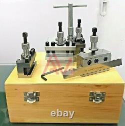 5 Pieces Set T51 Quick Change Toolpost Standard Boring Parting Holder Wooden Box