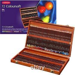 72 Colours Derwent Coloursoft Colouring Pencils + DVD WOODEN BOX Set Art Drawing