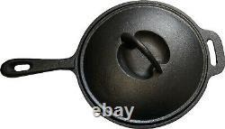 7pcs Cast Iron Cookware Dutch Oven Set with a Wooden Box for Outdoor Cooking