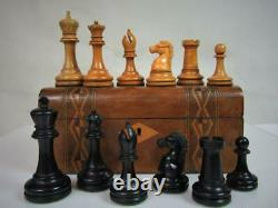 ANTIQUE FINE BCC IMPERIAL CHESS SET WEIGHTED K 96 mm AND BOX NO BOARD