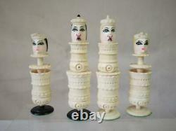 ANTIQUE / VINTAGE MEXICAN COW BONE LITTLE FACES CHESS SET K125 mm AND BOX BOARD