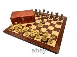 Amazing Exclusive Chess Set Pieces + Board + Box Exotic Wood Padauk