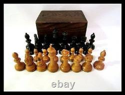 American Vintage E. S. Lowe or Drueke wood carved chess set Felted in wood box