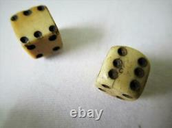 Antique Backgammon Chekers Counters Set Of 30 And Dice + Shaker + Nice Old Box