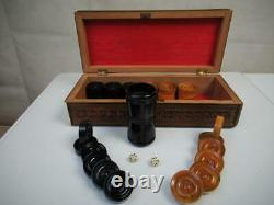 Antique Backgammon Chekers Counters Set Of 30 And Dice & Shaker + Sadeli Box