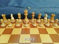 Antique British Chess Company Staunton Chess Set Weighted 3.8 Boxed Jaques Type