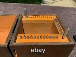 Antique C E Marshall Jewel Press Original Wood Box 38 piece Set Stainless Anvil