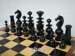 Antique Chess Set Club Size French Regence Pattern K 4.25 + Old Box
