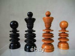 Antique Chess Set St George Jaques Pattern K 3.75 + Box + Old Folding Board