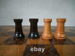 Antique English Chess Board Tunbridge Marquetry Inlay & Staunton Chess Set+box