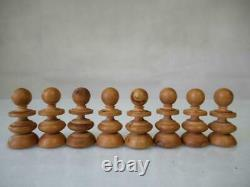 Antique English Chess Set Old St George Pattern K 80 +box No Board