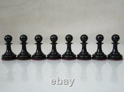Antique English Club Chess Set Jaques Pattern Ayres K 4 + Nice Box No Board