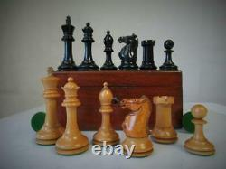 Antique English Club Size Chess Set Loaded Jaques Pattern Ayres K 4 And Box