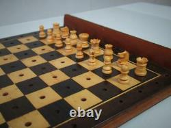 Antique English Travel Chess Set Pegged Pieces And Large Mahogany Box