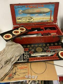 Antique Gilbert Trail Blazing Erector Set #8 Makes Zeppelin! Wooden Box 1929