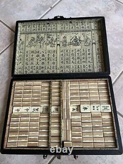 Antique Mahjong Mah Jong Set with Beautiful Bone And Bamboo Tiles And Wooden Box