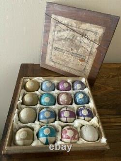 Antique Pool Billiard Burt Ball Set in Very Rare Labeled Wooden Box