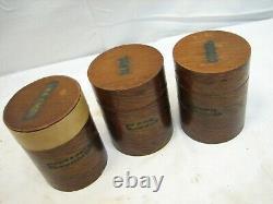Antique Round Wooden Pantry Shaker Spice Box Set Wood Jars Kitchen