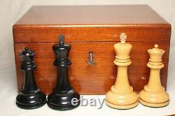 Antique Staunton Chess Set Weighted c1885 (King 3.75) with Original Box and Key