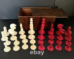 Antique Turned Bone Chess Set & Turned Box wood & Ebony Draughts Men in Box