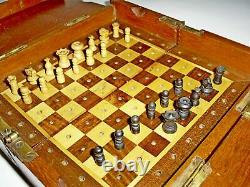 Antique Victorian Rosewood/satin Wood Board Travel Chess Set In Mahogany Box