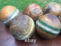 Antique Vintage Croquet Set in Original Wooden Box Rules 6 Players Complete Lot