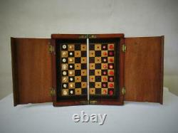 Antique Whittington Travel Chess Set Jaques Style And Orig Box-board