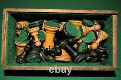 Antique Wooden Staunton style Chess Set Complete VGC Rich Patina Boxed, King 8cm