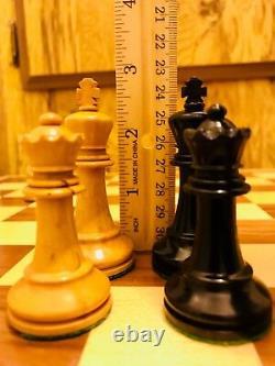 Atq British Howard Staunton Complete Chess Set & Original Mahogany Box C-1910