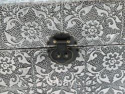 Black Silver Embossed Antique Effect Set 3 Trunks Ottoman Blanket Box (dx3249)