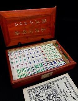 Bone And Bamboo Mahjong Set In Wooden Case / Box Mah Jong / Small Tile / Vintage