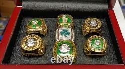 Boston Celtics 7 Ring NBA Basketball Championship Set With Wooden Display Box