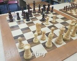 Boxwood Rosewood Jumbo Chess Set in Cherry Teakwood Box King Height 6 No Board