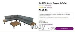 Brand new, boxed 5 seat garden corner sofa furniture set (aluminium and teak)