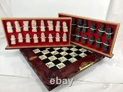 Carved Stone Vintage Asian Chinese Chess Set Figures Wooden Box Ornate Detail