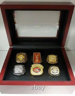 Chicago Bears Championship Super Bowl 6 Ring Set With Wooden Box. Payton Perry