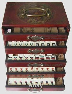 Chinese Mah-Jong 144 Tiles Game Set With wooden Box Free shipping
