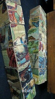 Civil war era Victorian Wood Block Puzzle set / 6 sided in wooden box RARE worn