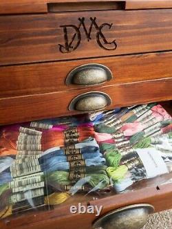 DMC Thread Storage Cabinet Box complete with full set of Threads, 500 Skeins