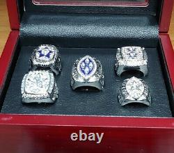 Dallas Cowboys 5 Super Bowl Ring Set With Wooden Display Box. Aikman Staubach