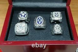 Dallas Cowboys Set of 5 Silver Color Super Bowl Rings With Wooden Display Box