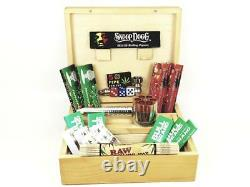 Deluxe Gift Set Large Wooden Smoking Smokers Rolling Box Phone Grinder
